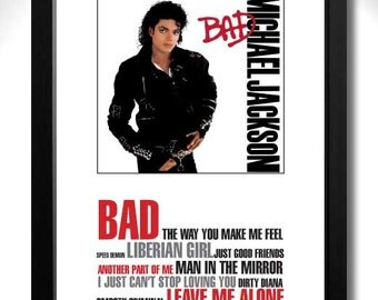 MICHAEL JACKSON - BAD Limited Edition Unframed A4 Art Print with Song Titles