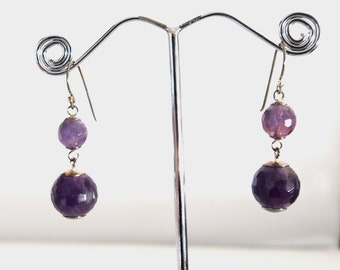 925 silver earrings and amethyste stone