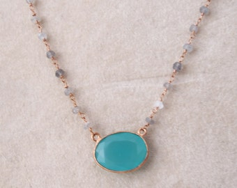 Vermeil necklace chain and green chalcedony pendant and beads