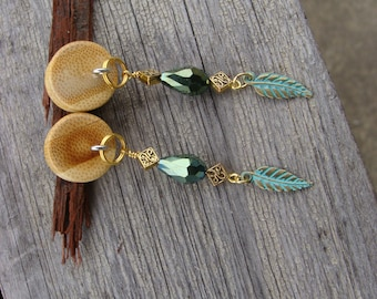 Wood plug dangle earrings - gauges- green gold feather dangles- tear drop-crystal glass bead- Birthday gift-gift for her- handmade