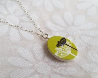 Green Dandelion Oval Wood Print Necklace