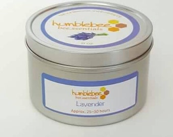 8 OZ lavender bee.ssential beeswax tin candle