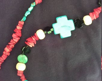 Howlite, Turquoise, glass and Red Coral Necklace