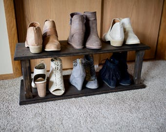 Rustic wooden shoe rack