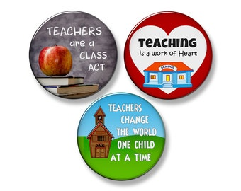 "TEACHER Fridge Magnet Set - 3 Large 2.25"" Round Magnets (Set #1)"