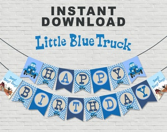 Little Blue Truck Birthday Banner // Instant Download - Available Immediately!