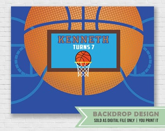 Basketball Party Banner Backdrop // DIGITAL FILE Only // Sports Party Banner Backdrop