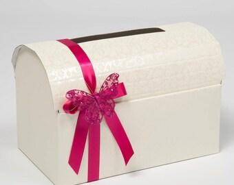 Wedding Card Box, Wedding Mailbox, Keepsake Box, Memory Chest, Wedding Post Box, Diamante Wedding Box, Receiving Box, Ivory Card Box