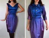 Winter Twilight Dress | vintage 60's cobalt blue wiggle cocktail dress | bombshell
