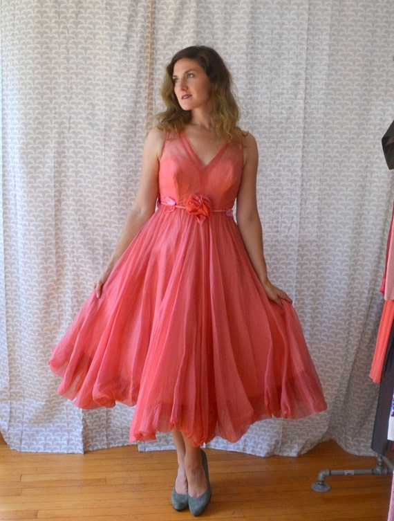 Hibiscus Wish Dress | vintage 50's coral bubble hem chiffon party dress | velvet details