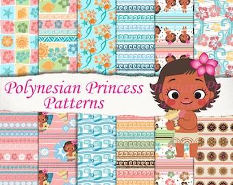 12 Polynesian Princess patterns, Baby Moana clipart, sheets, seamless, scrapbooking, digital paper, invitation, birthday party decoration