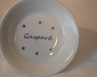 Baby personalized stars plate blue contemporary