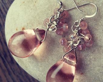 Pink Gin Earrings, pink earrings, beaded earrings, glass bead earrings