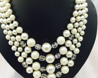 1950's 4 Strand Faux Pearl Necklace