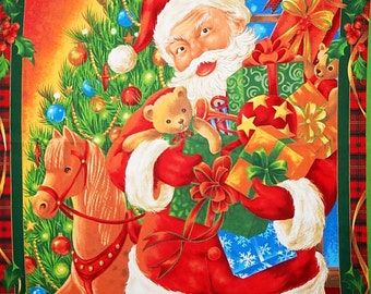 Christmas Panel Fabric by Laurie Cook for VIP Cranston Santa by the Christmas Tree Gifts Presents Wall Hanging 100% Cotton