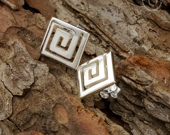 Greek Meander Earrings, Sterling Silver Earrings, Greek Key Earrings, Greek Jewerly, Silver Jewerly