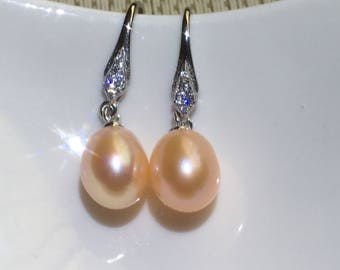 pearl drop earrings sterling silver earrings