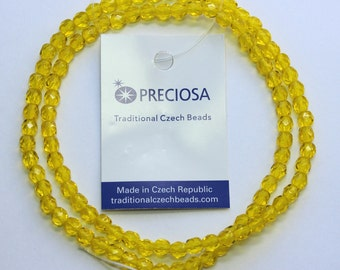 4mm Yellow Beads Preciosa Czech Glass Faceted Rounds 16 inch Strand 98 Beads
