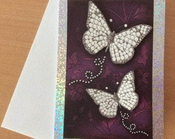 Handmade birthday card, handmade greetings card, butterflies, decoupage card