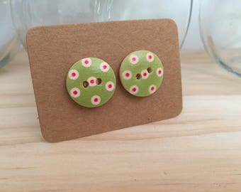 Green with Red spot Earrings
