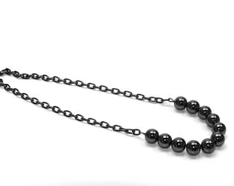 Hematite Beads /w Gunmetal chain