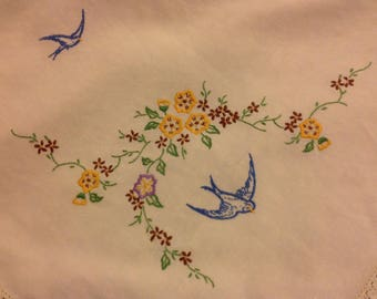 Hand embroidered 1940s bluebirds and flowers linen tablecloth