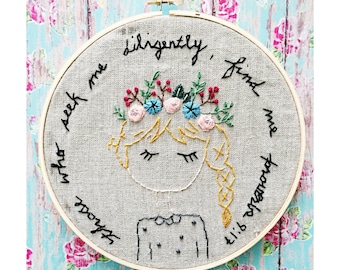 "CUSTOM HOOP: Hand embroidered 8"" embroidery hoop - your choice of verse and colors"