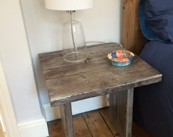 bedside occasional table  reclaimed scaffolding boards distressed and wax