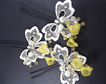 Set of 3 Hairpins flower, bridal flower hair, Rhinestone Hair Pins, wedding hair pins, spring hairpin
