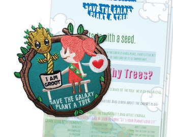 Girl Scout, Patch, Iron On, Embroidered, Activity Sheet, Troop, Girl Scout Patch, Groot, Marvel, Fun Patch, Patches, Daisy,Brownie, Movie