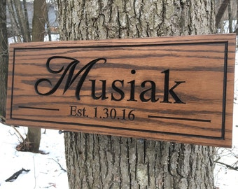Custom Wood Carved Name Sign, Customized Family Name Sign, Wood Sign with Names, Personalized Wooden Sign, Housewarming Gift