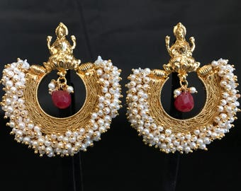Pearl Moti Temple Jewelry - South Indian Temple Jewelry - Indian Earrings - Bollywood Earrings - Ruby Indian Jewelry - Bollywood Jewelry -