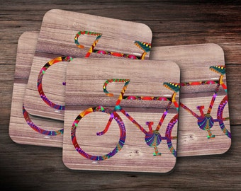 Coloured Bicycle Coasters, Drinks Mats - set of four,  drink coasters, coaster set, housewarming gift, new home present
