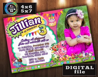 SHOPKINS Birthday Invitation, CUSTOM Digital File, Any age, With Photo