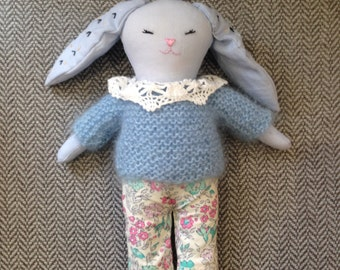 Handmade rabbit doll. Hand made soft bunny.