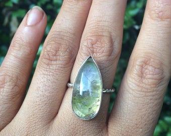 Silver Ametrine Ring / Sterling Silver Ring / Twist Band Ring / Gemstone Ring / Crystal Ring / Pear Cut Ametrine / Unique Ring / Vegan Ring