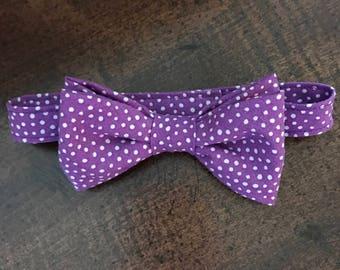 REDUCED!!  Little Boys Bow Tie, Purple & White Polka Dot Bow Tie, Boys Purple Polka Dot Bow Tie, Baby Polka Dot Tie, Boy's Adjustable BowTie