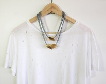 Strand Necklace, Gold Plated Necklace, Bib Necklace, Layered Necklace, Chunky Necklace, Everyday Necklace, Adjustable Necklace