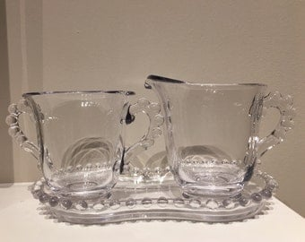 Vintage Imperial Candlewick Creamer and Sugar Set with Tray