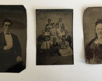 Set of 3 Vintage Tintype Photographs, Family c.1860s
