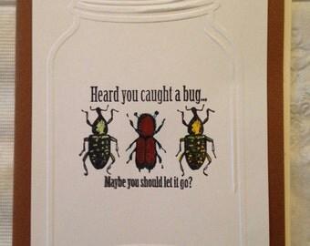 Humorous Handmade get well bug jar card