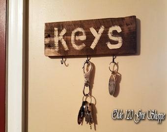 Rustic wood wall key hook Home decor