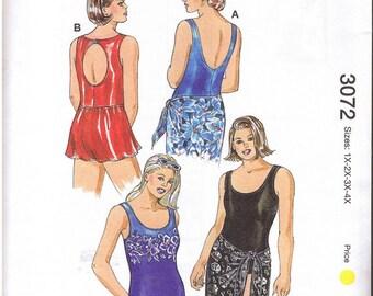 Kwik Sew Pattern 3072 Women's Swimsuit, Skirt & Wrap. Sizes 1X 2X 3X 4X