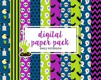 Bats, Ghosts, Skulls, Halloween - Cute Background, Digital Papers - Commercial Use, Instant Download
