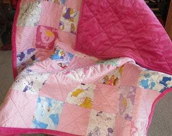 Disney Princess quilt,  pink Minky backing, Disney princess blanket, Princess Quilt, Princess Blanket, Handmade baby quilt, Toddler quilt