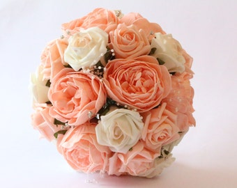 Peach and Ivory, Rose and Peony Wedding Bouquet with Diamante and Pearl