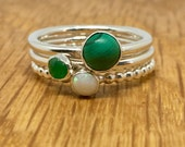 Jade, Opal and Malachite silver stacking rings, Green stacking rings, set of three, size Q, stacking ring, silver, jade, opal, malachite