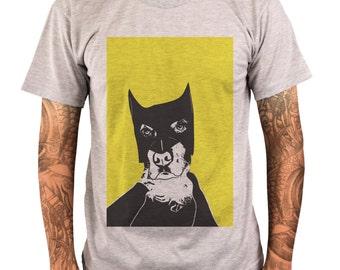 Bat Dog Graphic Men's T-shirt in white/grey