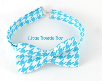 light turquoise bow tie with white houndstooth pattern, cotton bowties, adjustable pretied kids bowtie, metal hook adjustable bowtie
