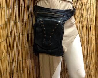 Fanny Pack hip shoulder Hip Bag Handbag travel bag of skin leather Holster / black / strap / hand made / Unisex
